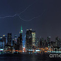 Lightning Over New York City Ix by Clarence Holmes