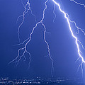 Lightning Strike At Night Near Phoenix, Usa by Keith Kent