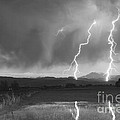 Lightning Striking Longs Peak Foothills Bw by James BO  Insogna