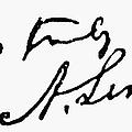 Lincolns Autograph by Granger