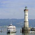 Lindau harbor with ship Bavaria Germany Print by Matthias Hauser