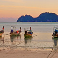 Longtail Boats On Beach At Sunset by Image by Ben Engel