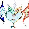 Love Dragons Print by Robert Ball