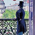 Man On A Balcony On Boulevard Haussmann by Gustave Caillebotte