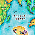 Map Of The Indian Ocean by Jennifer Thermes