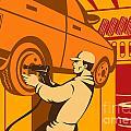 Mechanic Automotive Repairman Retro by Aloysius Patrimonio