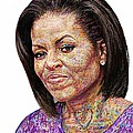 Michelle Obama With An Ipad by Edward Ofosu