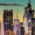 Midtown Buildings Morning Twilight Poster by Clarence Holmes