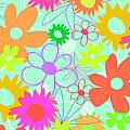 Mixed Flowers Print by Louisa Knight