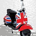 Mod Scooter Pop Art Print by Michael Tompsett
