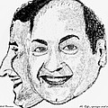 Mohammed Rafi Sketch Younger And Older by Ashok Naraian