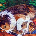Mom's Love - Shetland Sheepdog Print by Lyn Cook