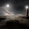 Moonlight Lighthouse Print by Lourry Legarde