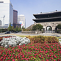 Namdaemun Gate With Flowers In Foreground by Jeremy Woodhouse