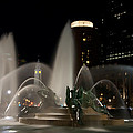 Night View of Swann Fountain Print by Bill Cannon