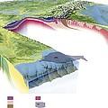 North American Geology And Oil Slick Print by Gary Hincks