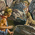 Oedipus Encountering The Sphinx by Roger Payne