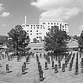 Oklahoma City National Memorial Black And White by Ricky Barnard