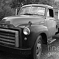 Old Nostalgic American Gmc Flatbed Truck . 7d9821 . Black And White by Wingsdomain Art and Photography