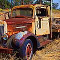 Old rusting flatbed truck Print by Garry Gay