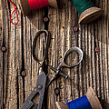 Old Scissors And Spools Of Thread by Garry Gay