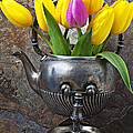 Old Tea Pot And Tulips by Garry Gay