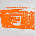 Orange boombox Print by Naxart Studio