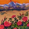 Orange Sun Over Wild Roses by Carolyn Doe