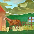 Paint Pony At Red Schoolhouse by Shannon SmithCumiford
