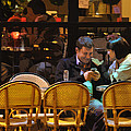 Paris At Night In The Cafe by Mary Machare