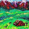 Pastoral scene on tiny canvas