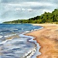 Peaceful Beach at Pier Cove ll Print by Michelle Calkins