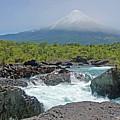 Petrohue Falls And Osorno Volcano by Pcontreras