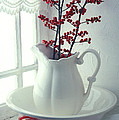 Pitcher With Red Berries  by Garry Gay