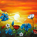 Poppies and Iris Print by Uma Devi