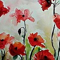 Poppies Meadow - Abstract by Ismeta Gruenwald