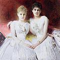 Portrait Of Marthe And Terese Galoppe by Leon Joseph Bonnat