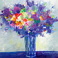 Posy In Lavender And Blue - Painting Of Flowers by Susanne Clark