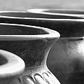 Pots In Black And White by Kathy Clark