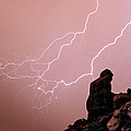 Praying Monk Camelback Mountain Lightning Monsoon Storm Image by James BO  Insogna