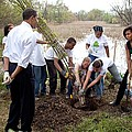 President And Michelle Obama Help Plant by Everett