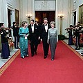 President And Nancy Reagan Walking by Everett
