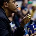 President Barack Obama Eats Popcorn by Everett