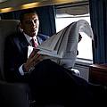 President Barack Obama Reading by Everett