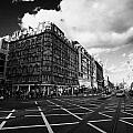 Princes Street And St David Street South With Tram Lines And Old Waverly Hotel Edinburgh Scotland Uk by Joe Fox