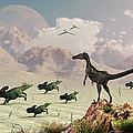 Protoceratops Stampede In Fear by Mark Stevenson