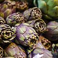 Purple Artichokes At The Market by Heather Applegate