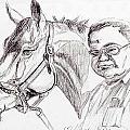 Race horse and owner Print by Nancy Degan