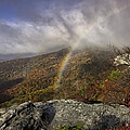 Rainbow Over Rough Ridge - Nc Autumn Scene by Rob Travis