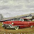 Red Cadillac Print by Steven Agius